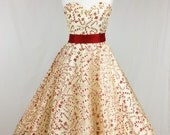 Gold Christmas 50's Dress with Glitter Candy Canes, sweetheart neckline, cirlce skirt, vintage, festive, organza, 1950's
