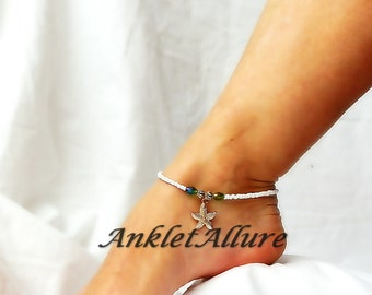 Ocean Cruise Starfish Anklet Gold Starfish Ankle Bracelet Beach Wedding Foot Jewelry Body Jewelry Gold Ankle Bracelet
