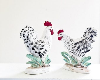 Silver Spangled Hamburg Chicken Figurines Vintage Hen And Rooster Ceramic Figural Collectibles Norcrest China Japan 1960's Farmhouse Kitchen