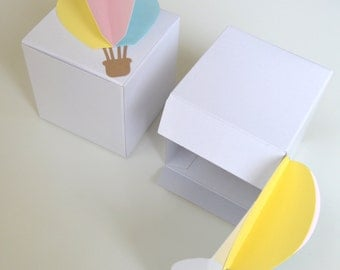 RTS! SALE! 3D Hot Air Balloon White Gloss Favor Box (Pastel Yellow/Pink/Blue), gender reveal, baby shower, first birthday, spring, easter