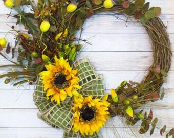 Fall Wreath, Rustic Fall Wreath, Sunflower Wreath, Sunflower Decor,  Rustic Decor, Country Wreath, Woodsy Wreath, Fall Grapevine Wreath