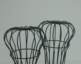 Vintage Wire Gutter Guards Metal Wire Cloche Domes Topiary Plant Rustic Farmhouse Industrial Urban Garden Decor Architectural Salvage - 2 Pc