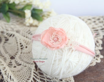 Newborn Tieback, Pink Flower Tieback, Newborn Photo Prop, Newborn Tie Back Headband, Vintage Headband, Flower Tieback, Newborn Halo, Rose