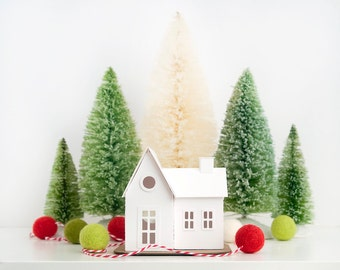 Farmhouse Putz Ornament DIY Kit Glitter House Christmas Decoration Paper Craft Kit