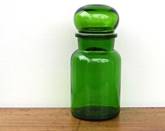 Vintage Bubble Lid Large Glass Apothecary Jar
