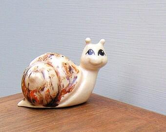 Vintage Big Eyed Smiling Garden Snail Figurine