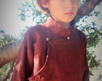 Tibetan Shirt For Boys ~ Maroon Special Handwoven Fabric~
