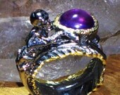 African Amethyst Feather Ring of the Goddess Diana - Psychic, Meditation, Royalty, Animal Communicate, Moon Magic, Love Magic, Dream Peace