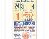 New York Mets - Print of the 1962 First home game ever at The Polo Grounds ticket stub - 8x10, 11x14 or 16x20 print -NY Mets fan gift