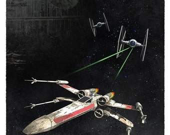 Star Wars X-wing vs Tie Fighter -  8x10, 11x14 or 16x20 print - Starwars poster - Death Star