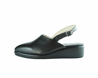 Closed Toe Straped Wedges- Pointy toe - Black leather - All sizes -