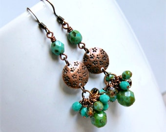 copper jumbles drop earrings, copper green, boho, dangle, rustic