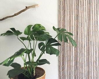 vintage beaded wall hanging curtain / door screen / window curtain / room divider / brown beige