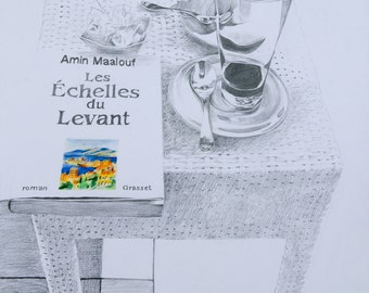 ORIGINAL DRAWING with frame-Still life with book-Amin Maalouf book drawing