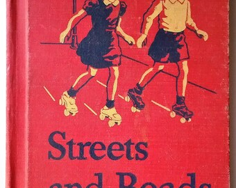 Vintage children's primer Streets and Roads Scott Foresman Cathedral Basic Reader Sunday school 1947 color illustrations scrapbook craft