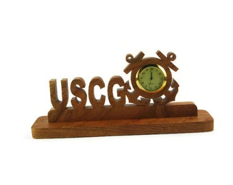 U.S. Coast Guard ( USCG ) Desk Or Shelf Clock Handmade From Cherry Wood By KevsKrafts