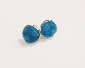 The Druzy Earrings in Light Blue | Serene Blue Druzy Earrings | Blue Earrings | Blue Jewelry | Blue Druzy Jewelry | Blue Druzy Earrings