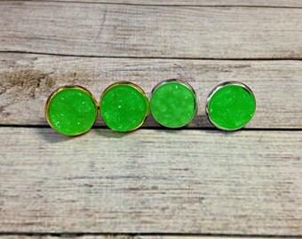 The Druzy Earrings in Lime | Neon Green Druzy Earrings | Green Earrings | Green Druzy Jewelry | Lime Studs | Green Druzy Earrings