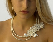 Statement bridal necklace pearl embroidered bridal lace jewelry bride ivory necklace statement wedding necklace bridal statement necklace