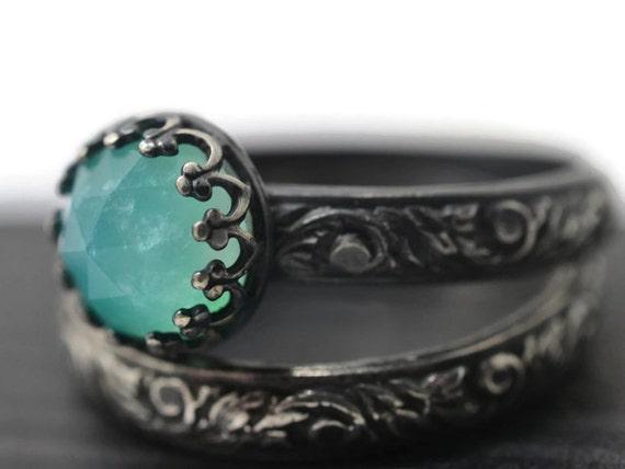 Peruvian Blue Opal Wedding Set Engagement Ring by fifthheaven