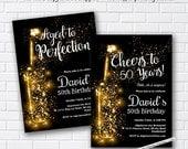 wine invitation, Wine birthday invitation, Aged to Perfection, Glitter birthday Invitation gathering Party invitation Design - card 972