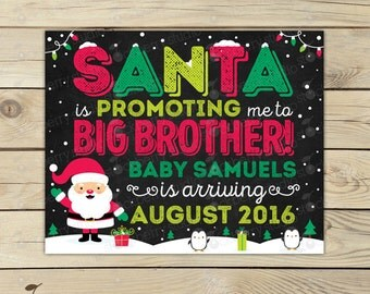 Christmas Big Brother Announcement Chalkboard Sign Printable - Promoted to Big Brother - Christmas Baby Announcement Sign - Pregnancy Reveal