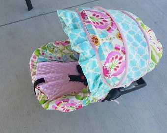 Baby Girl Infant car seat cover-beautiful pinks blues and greens with pink minky  and accent ruffle -  Always comes with FREE strap