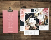 CLEARANCE! 2017 Calendar, Bloom Wall Calendar, Literary Gift for Girlfriend, College Student Gift for Her, Botanical Calendar