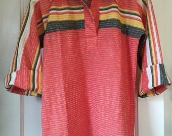 Vintage 1970's Woven Tunic Top in Orange, Gold, Brown & White by Mr. Alex