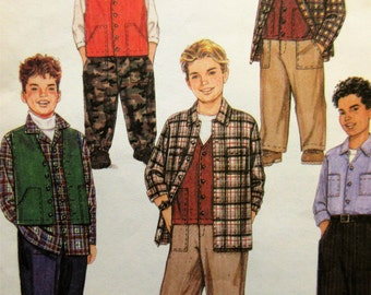 McCall's 2364 Sewing Pattern, Boys' Vest Pattern, Shirt Pattern, Cargo Pockets, Elastic Ankle Pants, Boys' Chest 26 to 28.5, 1990s Pattern