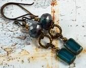 Rustic Earthy Bohemian Blue Teal Glass Antique Brass  Earrings