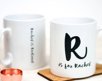 Personalised Inital Name Mug | Handprinted | Birthday | Christmas | Gift | For Her | For Him | Anniversary