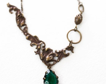 Bohemian Scrolled Oblong Filigree Vintage Emerald  Crystal Pear Necklace