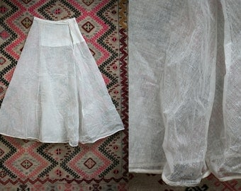 "Vintage/ Antique 1910's Waxed Cheesecloth Skirt Feminine Romantic Victorian Women's 27"" Waist"