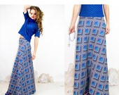 Retro Vintage 1970s Graphic A-Line Hi-Waist MAXI Skirt Psychedelic / Vintage Skirts by TatiTati Style on Etsy