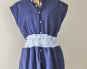 Reserved for Amber O/ Upcycled Linen Tunic  Nursing Top in Navy