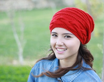 Red womens hat, women slouchy beanie, Red winter hat, women slouchy hat, slouchy knit hat, slouchy beanie hat, Red slouchy hat, santa hat