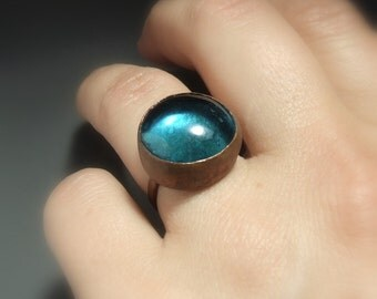 Blue copper ring, blue glass rustic jewelry, adjustable hammered ring, statement women gift