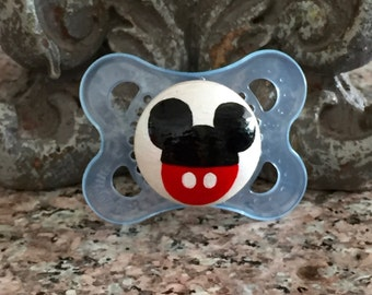 Mickey Pants Ears Custom Hand Painted Pacifier by PiquantDesigns