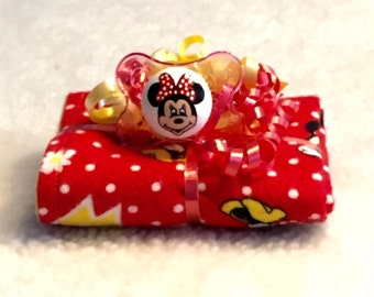 Minnie Mouse Burp Cloth & Pacifier Gift Set by PiquantDesigns