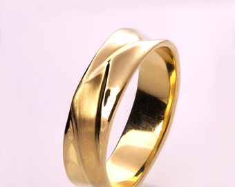 Waves No.5 - 14K Gold Ring , Wedding Ring , Wedding Band , Men's Band, men's ring, unique band, 6.5mm band
