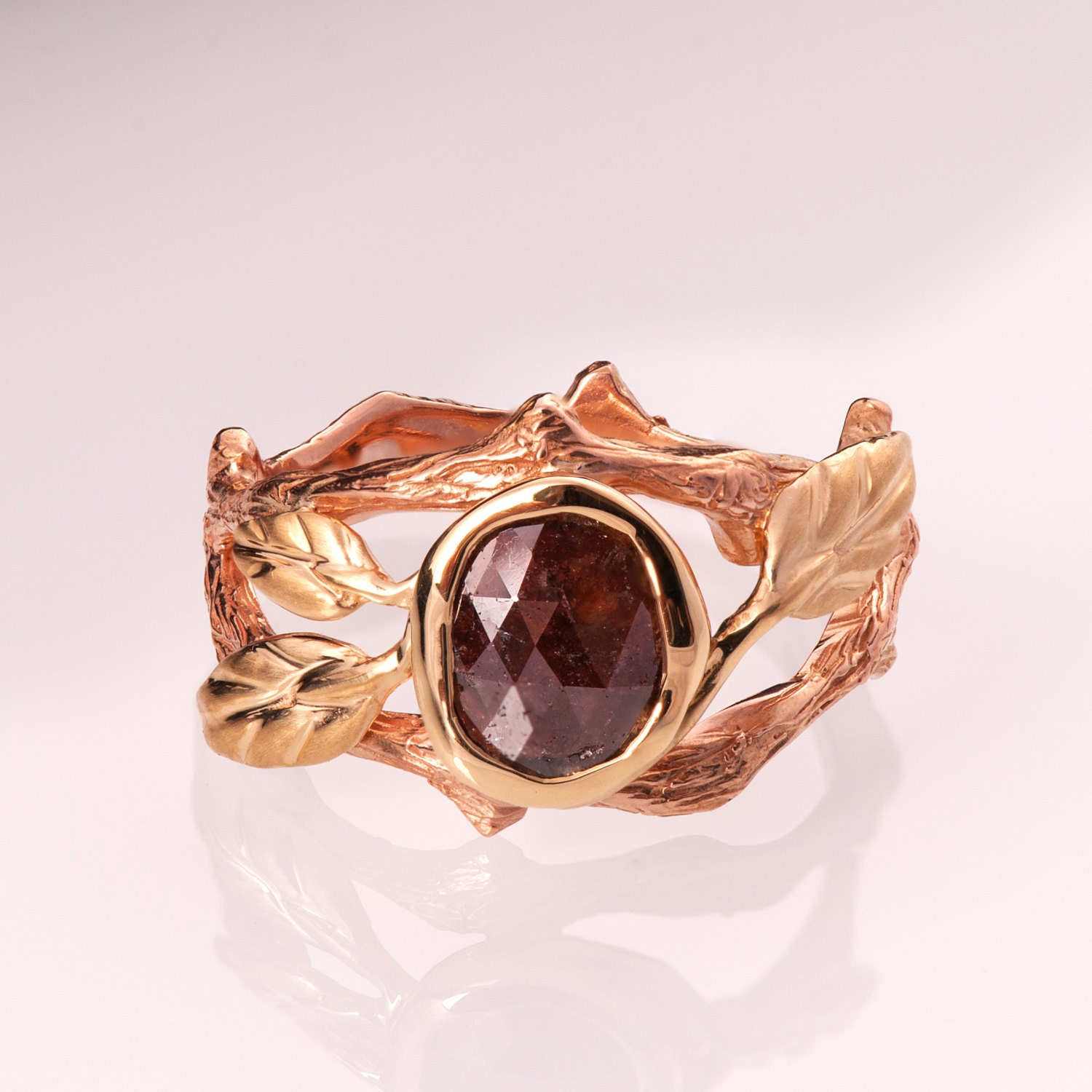 Rose cut diamond ring Twig and Leaf Engagement Ring two