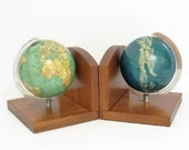 SALE - Stunning Globe Bookends made in Germany c1965 Cold War Era