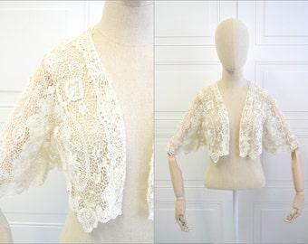1910s Edwardian Irish Crochet Lace Bolero