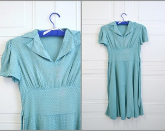 1940s Teal Swing Dress