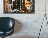 11x17 giclée art print- Star Gazer - Fox Spirit - Mixed Media Painting