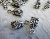 Leaf Bails Leaf Bail Findings Tibetan silver 6mm x 13.5mm Qty 8