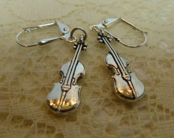 Silver Violin Earrings