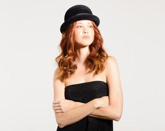 Felt Bowler Hat, Normcore, Womens, Fall, Winter, Felt Hat, Black