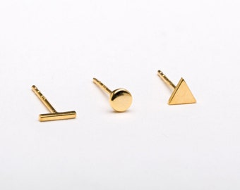 Tiny Triangle, Dot, Bar Stud Earring SET, Sterling Silver, Gold Plated, Minimalist Post Earrings, Lunaijewelry, Girlfriend gift, COM005